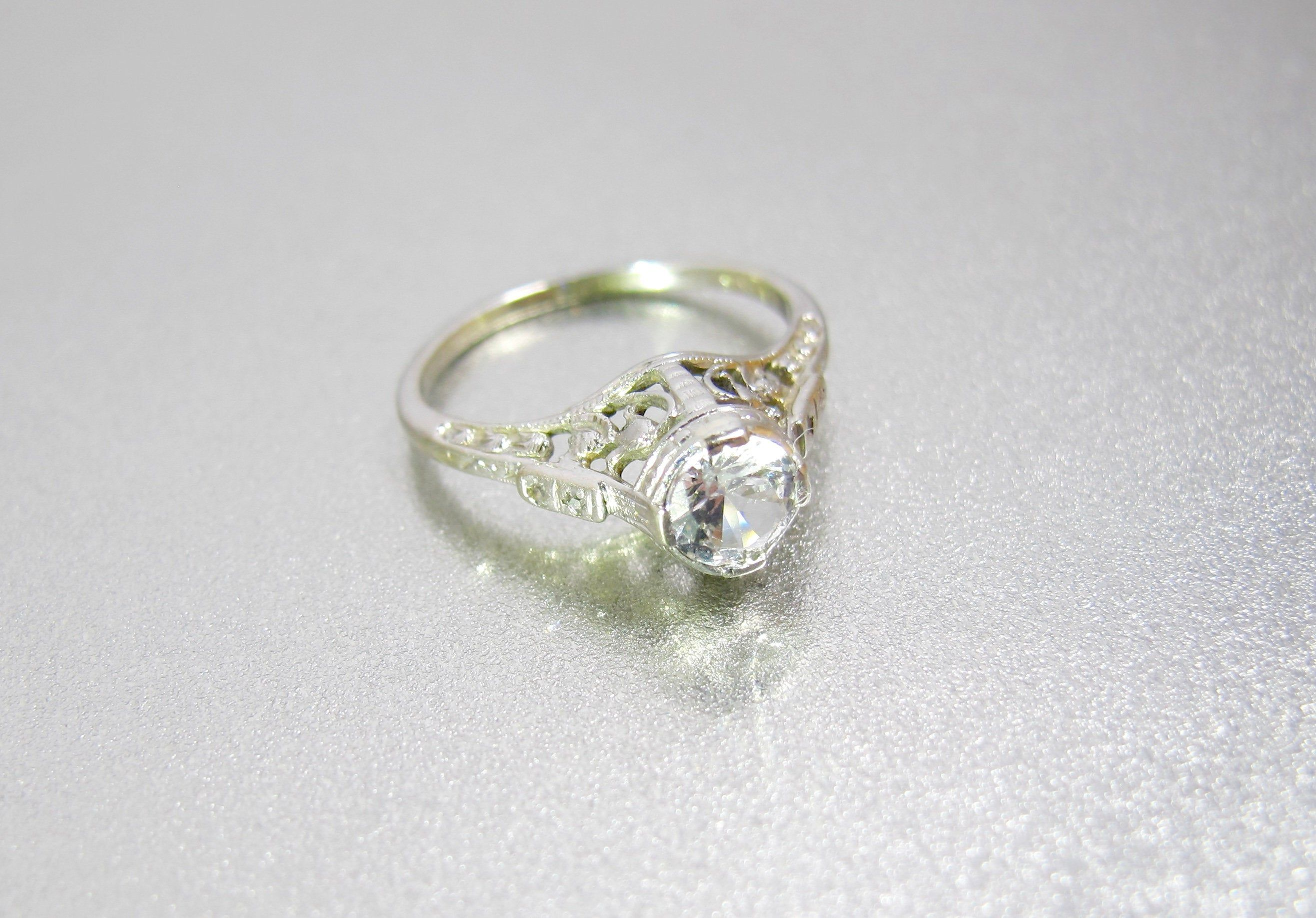 Art Deco 18k Engagement Ring White Gold Diamond Spinel Etsy Fine Wedding Jewelry Art Deco Engagement Ring 18k Engagement Rings