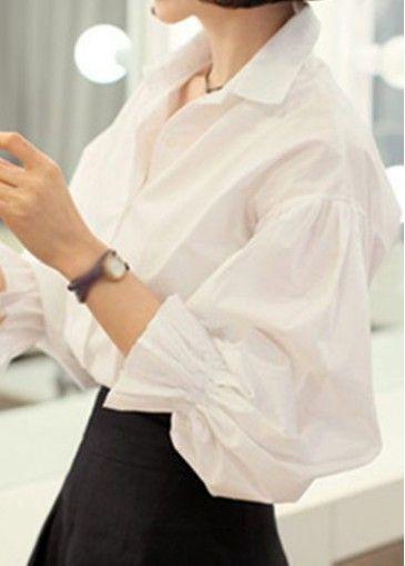 White Turndown Collar Lantern Sleeve Shirt