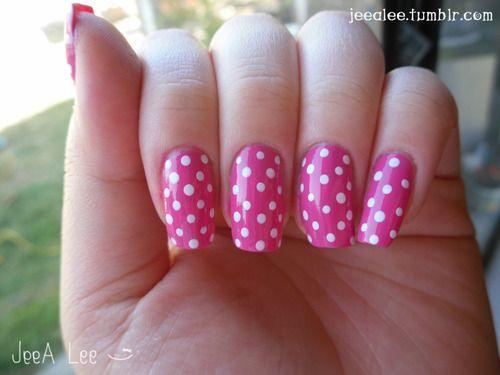 My Trademark Hot Pink With White Polka Dots White Acrylic Nails Polka Dot Nail Art Designs Polka Dot Nails