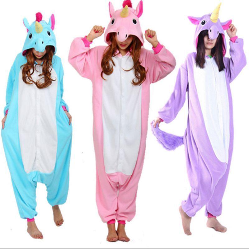 fe395ecc06 Barato Unicornio pegasus unicórnio narval adulto onesies pijamas traje  pijama para casais mulheres homens one piece pijama femme
