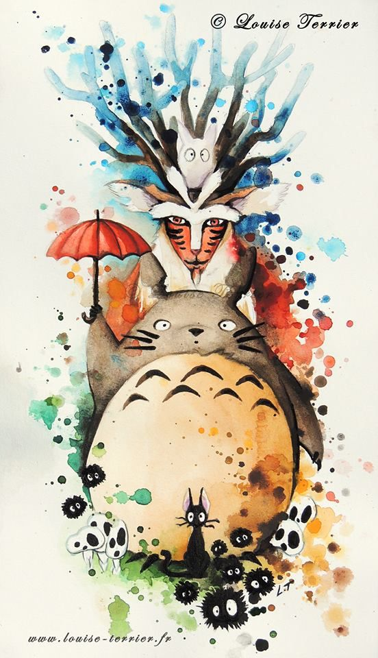 Aquarelle 33x19cm Watercolor 33x19cm Studio Ghibli Studio