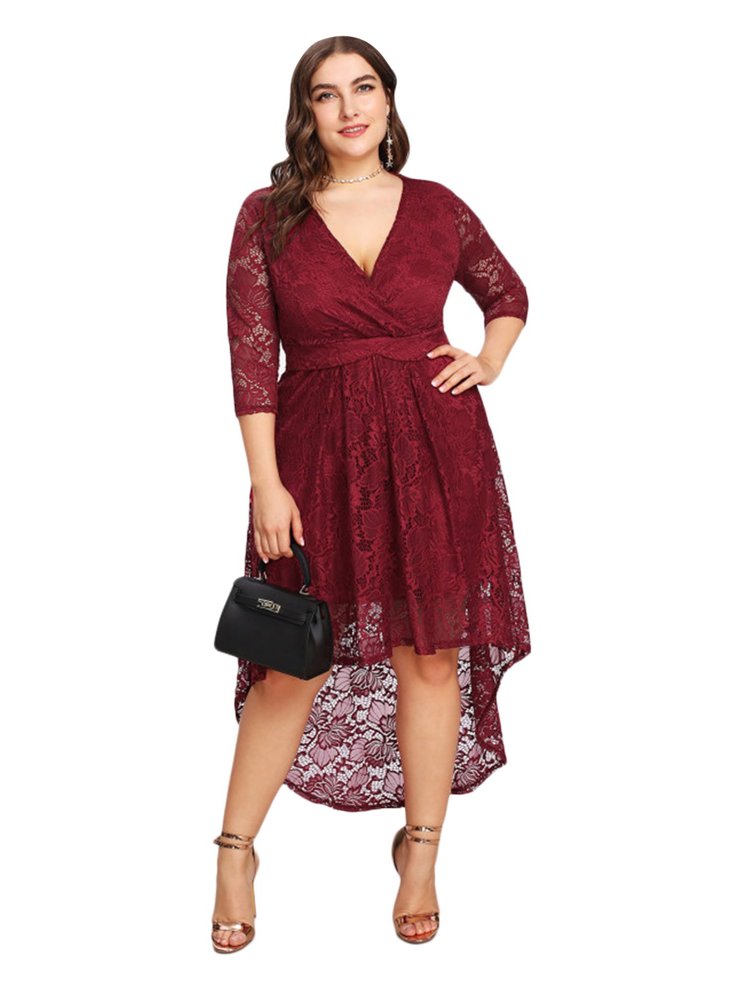4bbb3c017a6 ESPRLIA Women s Plus Size Floral Lace Hi-Lo Cocktail Formal Swing Dress