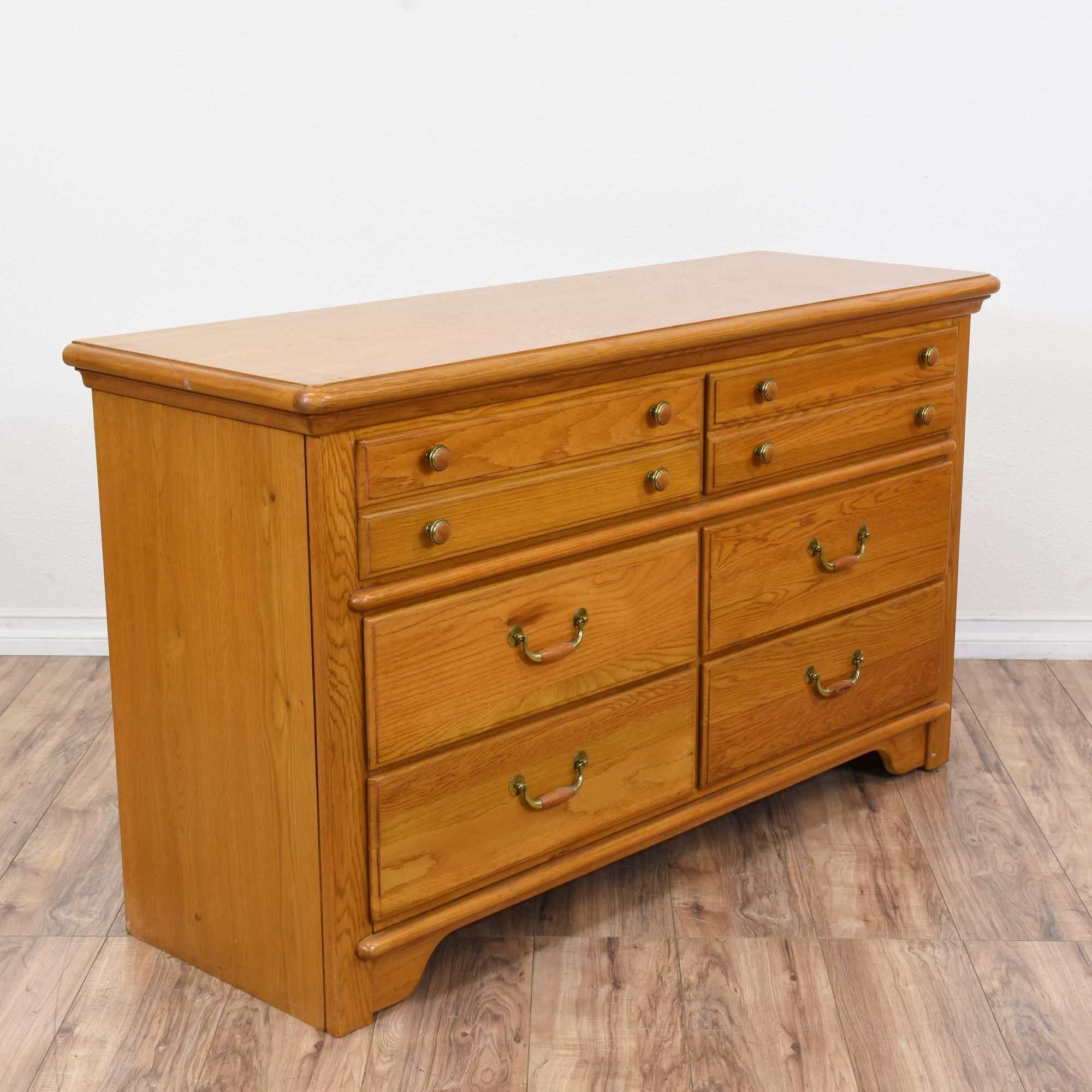 Lexington Honey Oak 6 Drawer Dresser Simple Storage Honey Oak