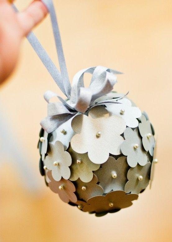 This paper blossom hydrangea pomander was made for a wedding, but I - christmas decorations diy