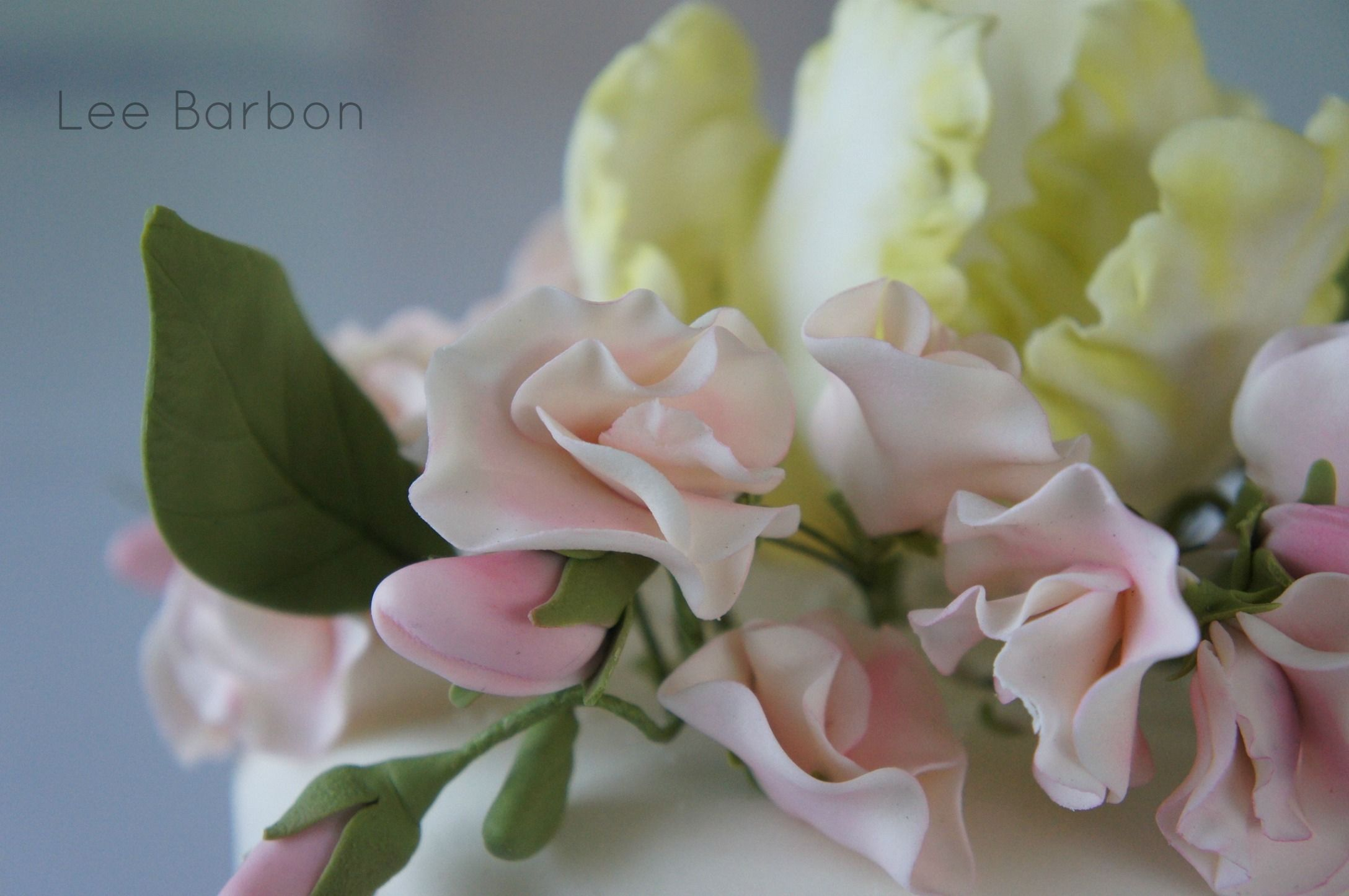 Sweet Peas and Parrot Tulip made of gumpaste