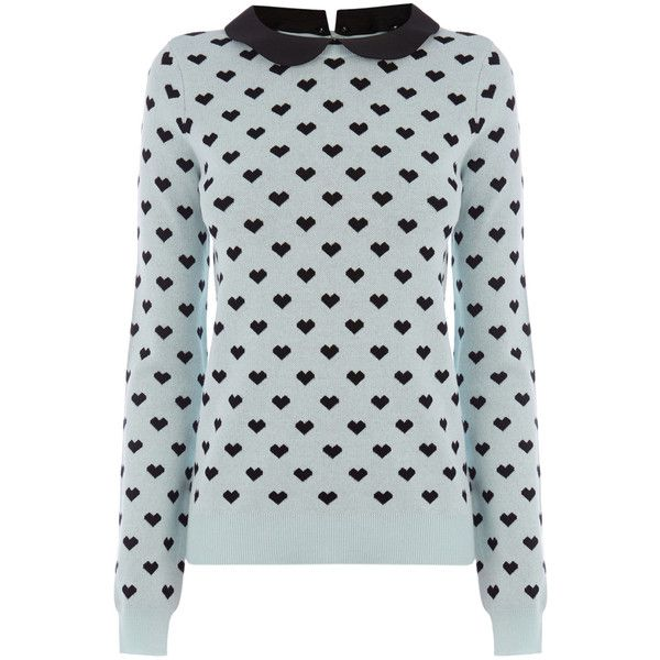 OASIS Heart Collar Jumper (£10) ❤ liked on Polyvore featuring tops, sweaters, jumper, shirts, multi, heart print sweater, peter pan collar sweater, blue collared shirt, collared shirt sweater and keyhole sweaters