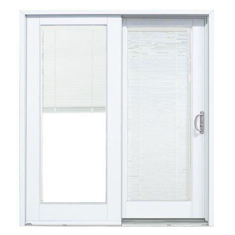 Mp Doors 60 In X 80 In Smooth White Right Hand Composite Sliding Patio Door With Low E Built In Blinds G5068r002wle Patio Doors Sliding Glass Door Blinds Vinyl Patio Doors