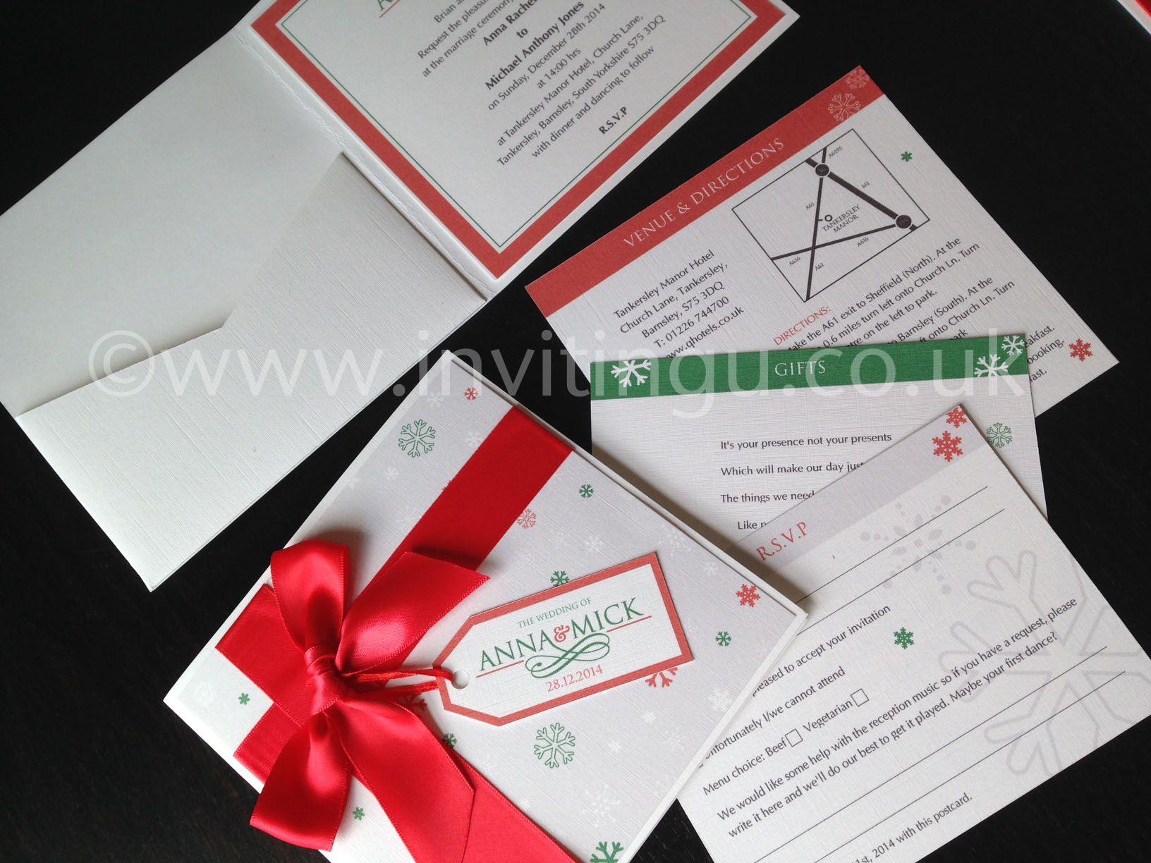 Christmas wedding invites with inserts ©www.invitingu.co.uk ...
