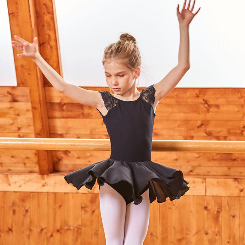 US Chiffon Ballet Dance Leotard Dress Ballerina Girls Dancewear Performing Wear