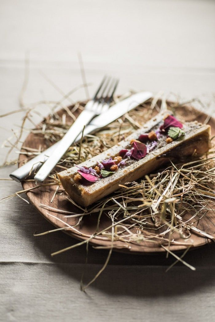Christoffer's dish with smoked bone marrow, herbs and crunch | Chef's table with Christoffer… | Martin Kaufmann Photography