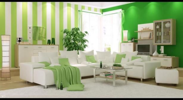 Elegant Interior Home Design with Striped Paint Wall Decoration Ideas: Natural Modern Living Room Design With White Green Striped Wall Paint And Pillow On The Sectional White Leather Sofa As Well Glass Table On White Fur Rug And Plant Beside Corner Glass Window ~ justsoakit.com Interior design Inspiration
