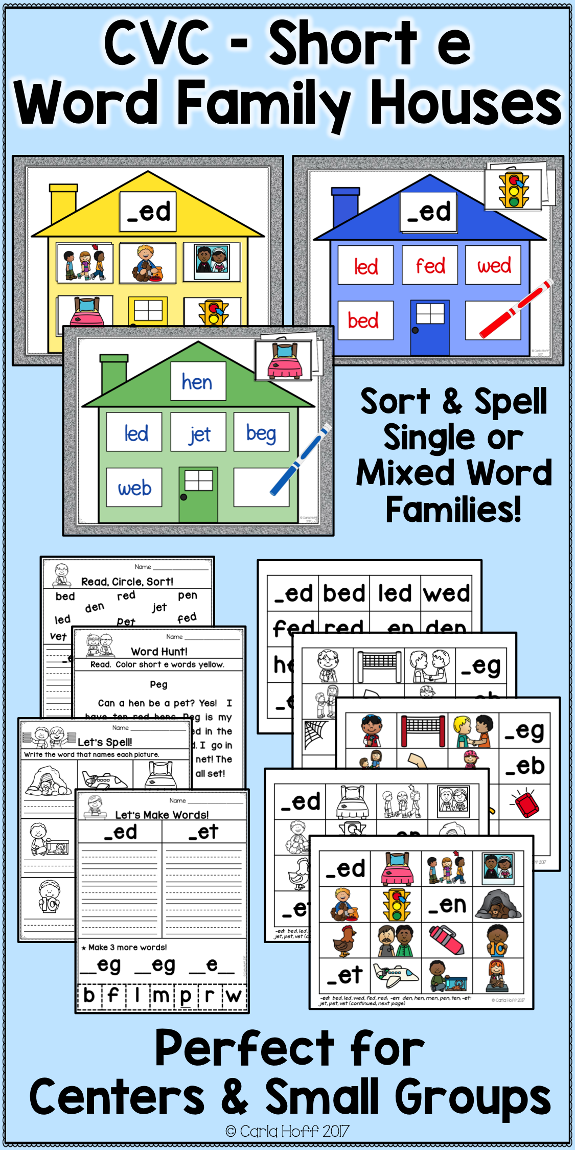 Cvc Word Work Centers And Activities For Short E