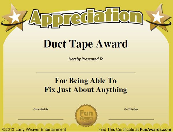 101 Funny Employee Awards by comedian Larry Weaver    www - best of recognition award certificate wording