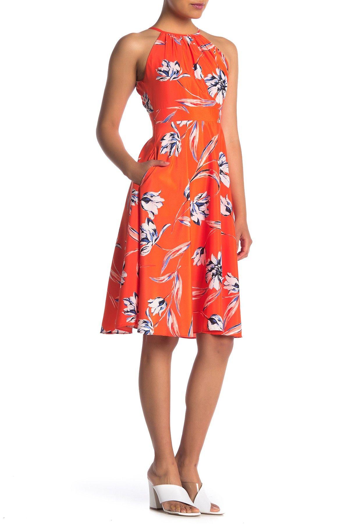 Eliza J Floral Halter Midi Dress Nordstrom Rack Petite Midi Dress Petite Dresses Halter Midi Dress [ 1800 x 1200 Pixel ]