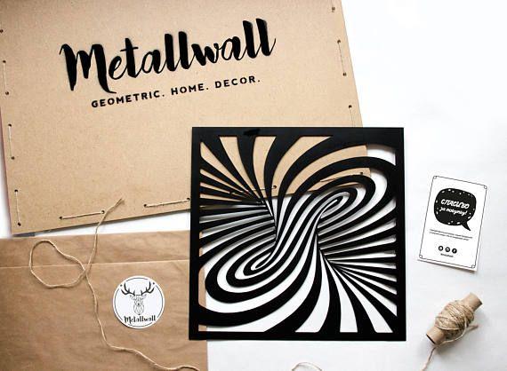 Metal Wall Art Tornado Home Decor Interior Sign Steel Minimalistic