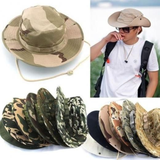 fb1ca9a0750 Bucket Hat Fishing Wide Brim Boonie Hunting Military Cap Camo Outdoor Men  Hats E Boonie