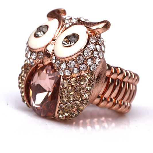 Free shipping New Hot 2015 fashion new Rose Gold Owl Stretch Luxurious Ring(China (Mainland))