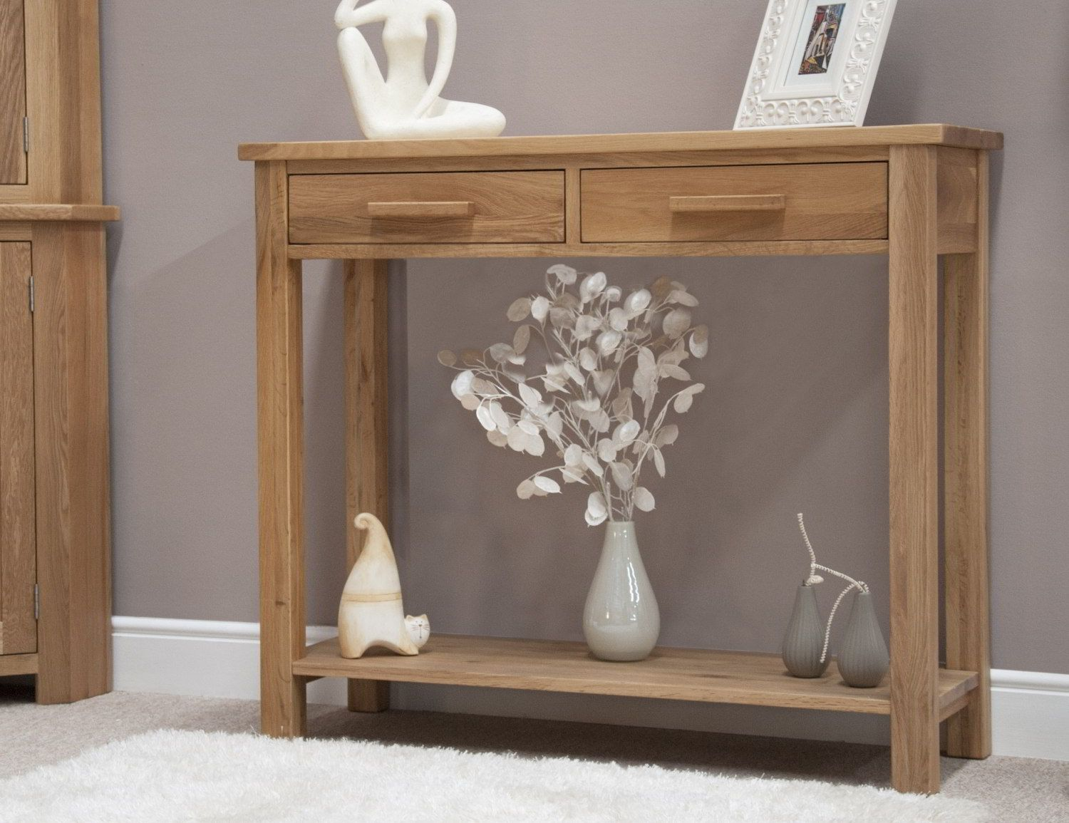 Solid Oak Modern Hallway Console Table In Nice Hall Jpg 1 500