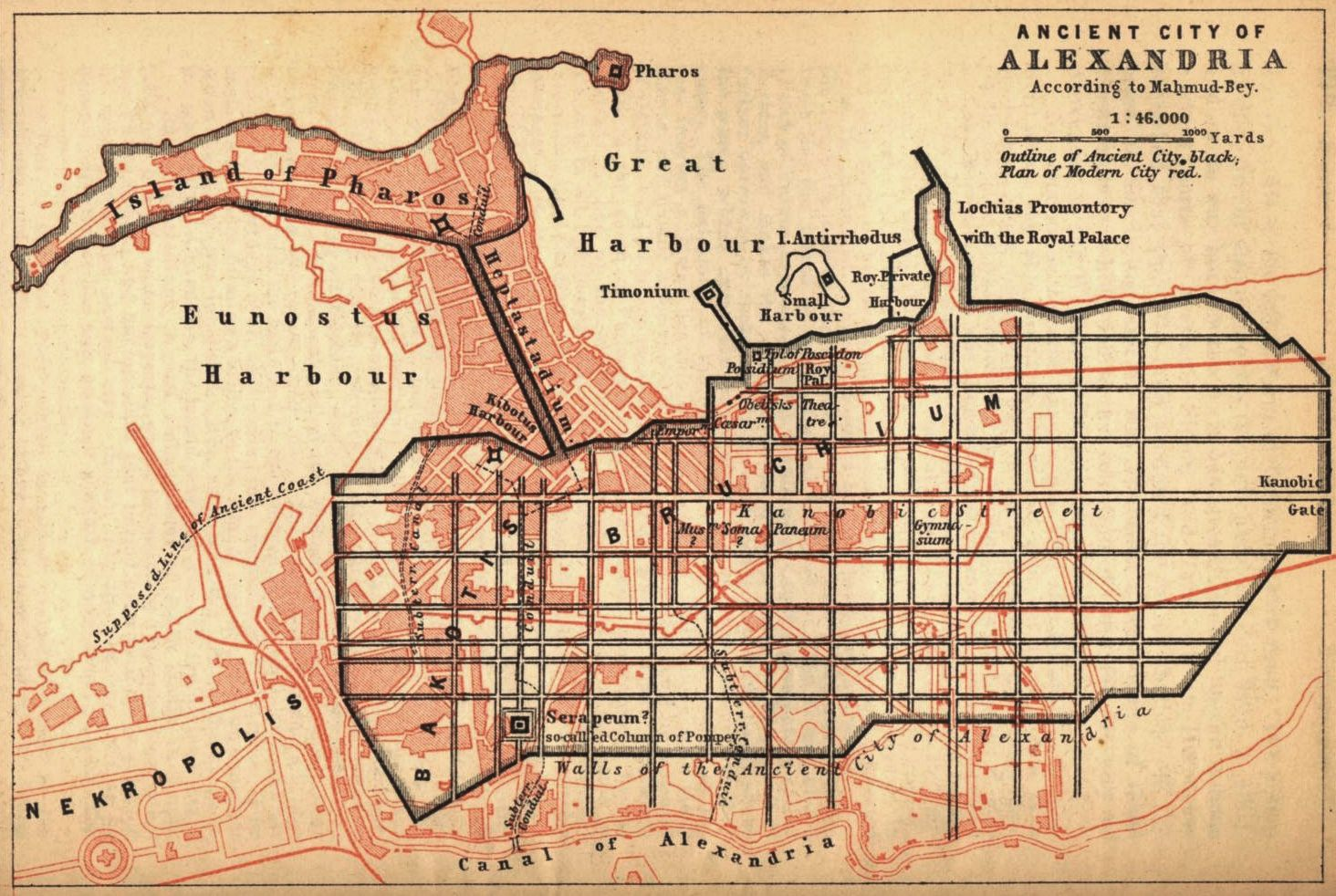 Map of Ancient Alexandria over the a map of the current city How do