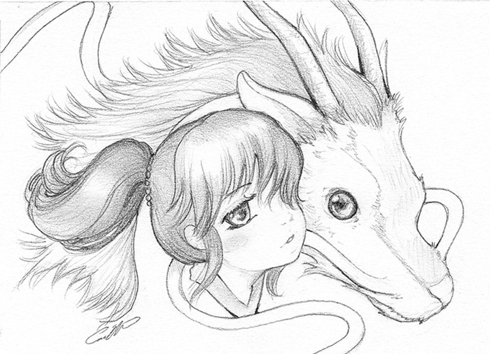 Spirited Away Chihiro And Haku Sketches Drawings Character Drawing