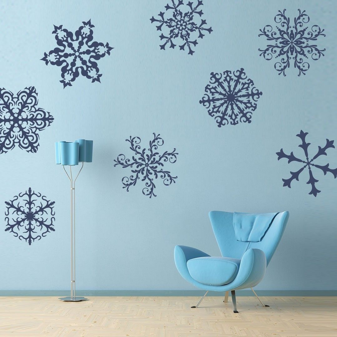 Window decor stickers  vinyl wall decal sticker art  delicate ornate snowflakes set of