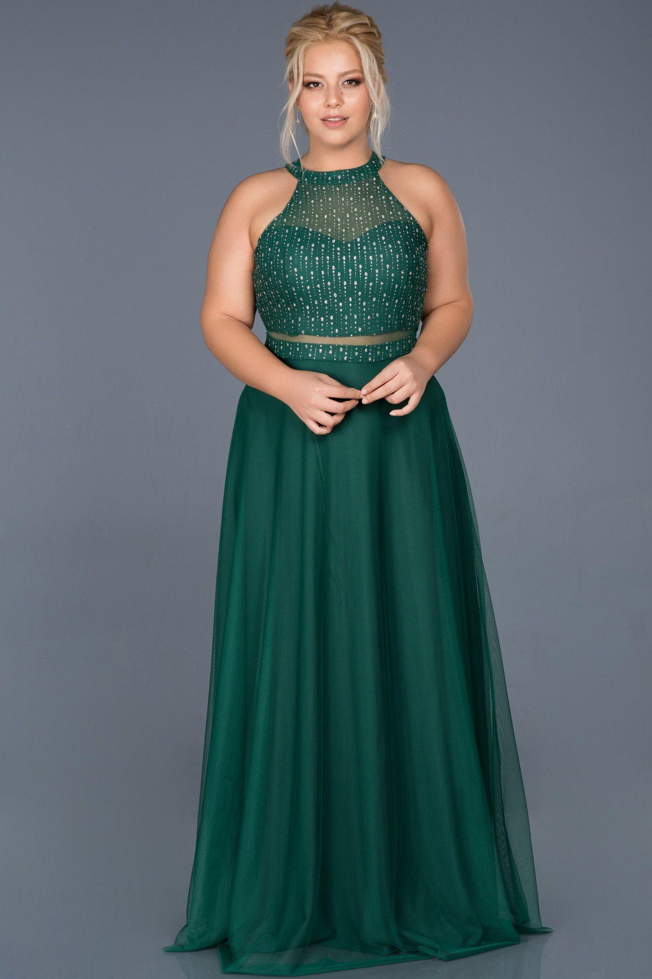 Yesil Uzun Tul Sim Islemeli Buyuk Beden Abiye Abu908 2020 Elbise Elbise Modelleri The Dress