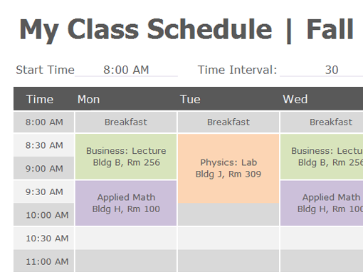 college school schedule template.html