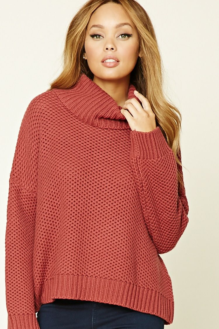 A seed knit sweater featuring a cowl neck and long dolman sleeves ...
