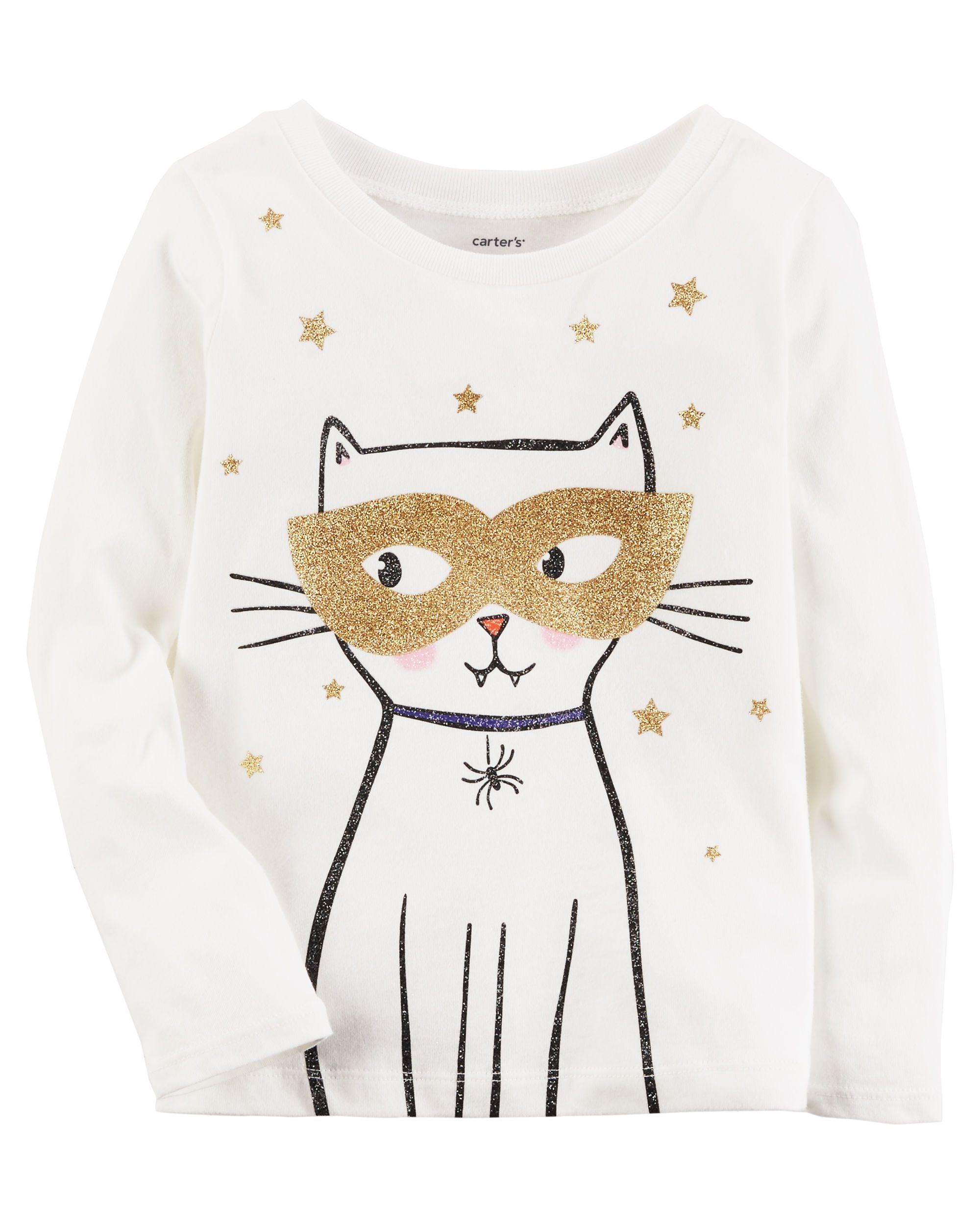 6b25351be Baby Girl Long-Sleeve Glitter Cat Graphic Tee | Carters.com | WINTER ...
