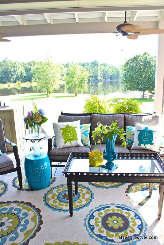 green patio home designs. Tour The House  Blue fabric Turtle and Pillows