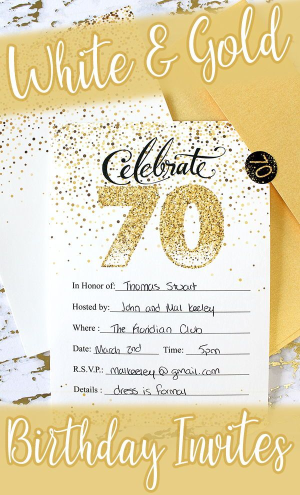 White And Gold 70th Birthday Party Invitation Cards With Envelopes 10 Count 70th Birthday Parties Party Invitations Birthday Party Invitations