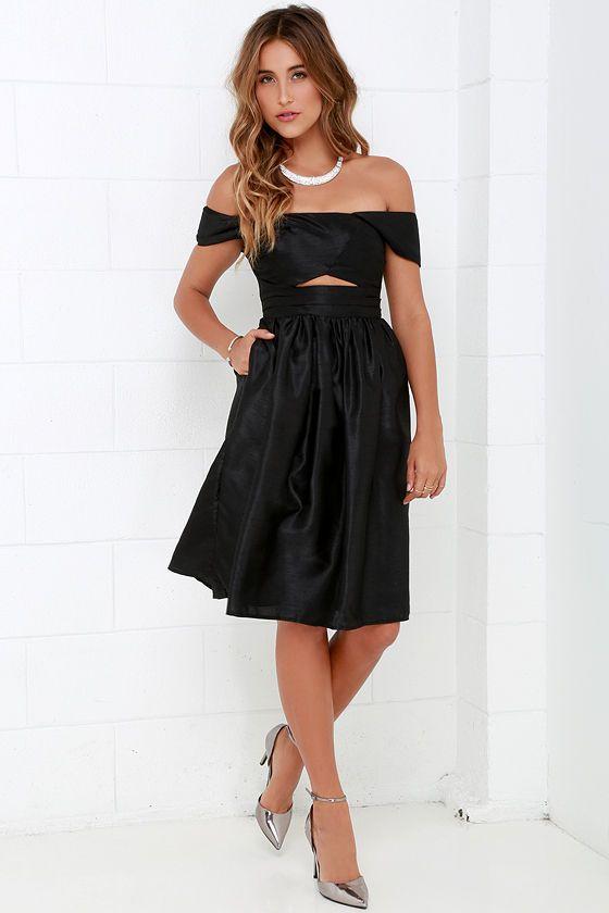 c47f5c5d27c1 Keepsake Confession Black Off-the-Shoulder Dress at Lulus.com!