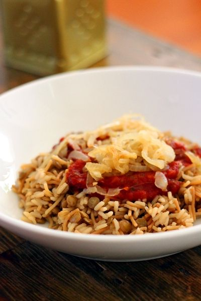 Kushari egyptian rice and lentils vegetarian pinterest lentils rice vegetable broth with a touch of tomato makes a great meal filled with tons of flavor forumfinder Images