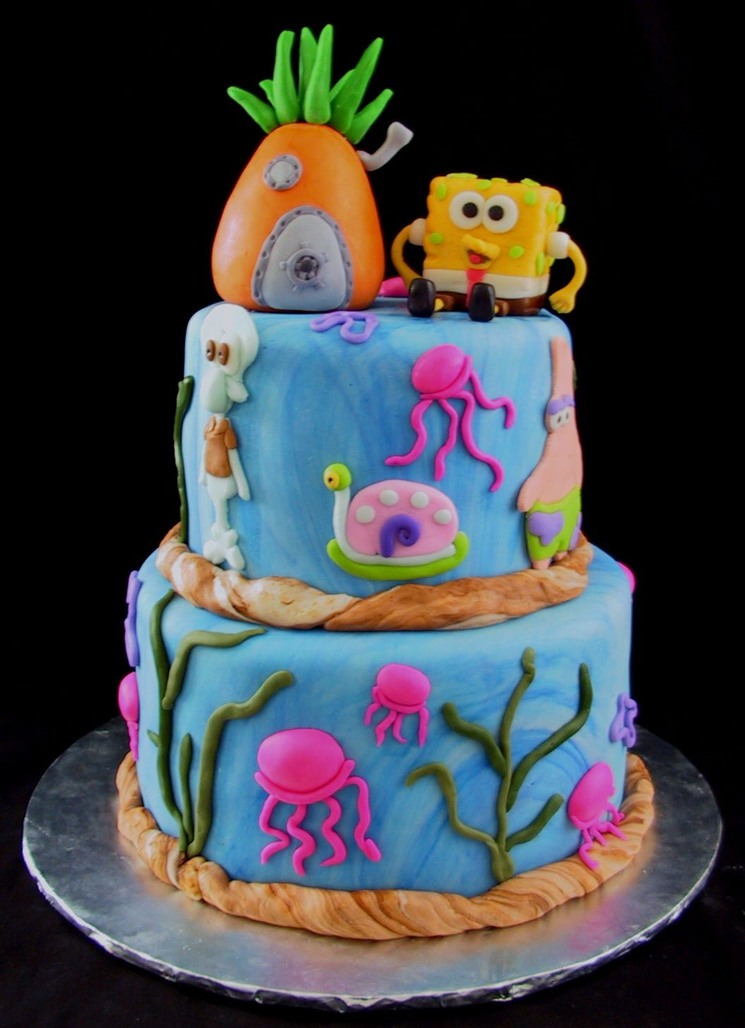 Fondant Tiered Sponge Bob Birthday Cake  Danville KY Best - Happy birthday bob cake