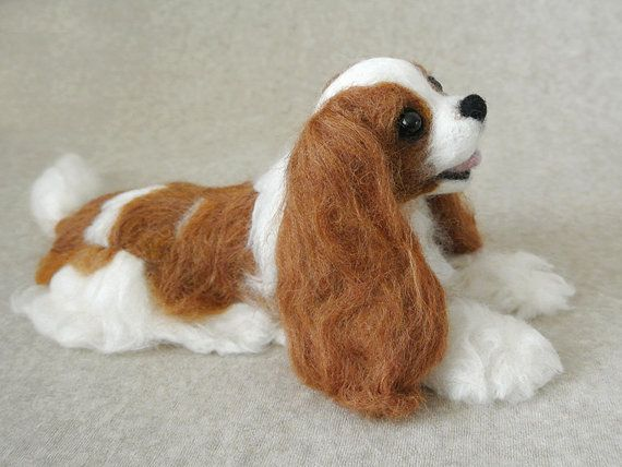 Most amazing Needle Felted Dog I have ever seen!  Custom Miniature Sculpture of your Cavalier King Charles Spaniel - OOAK /  Large size (D)