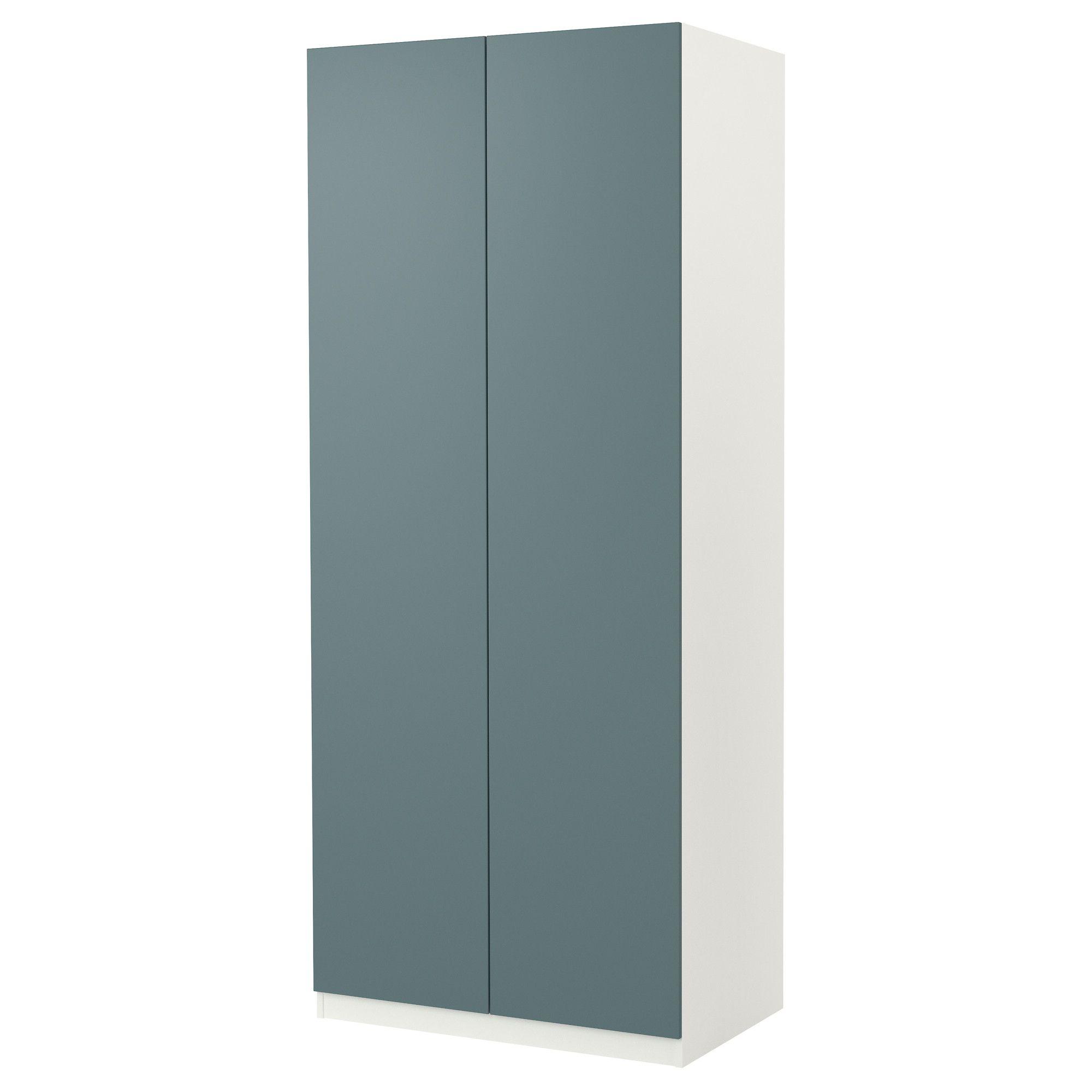 PAX Armoire 2 portes Tanem turquoise, blanc, 100x37x236