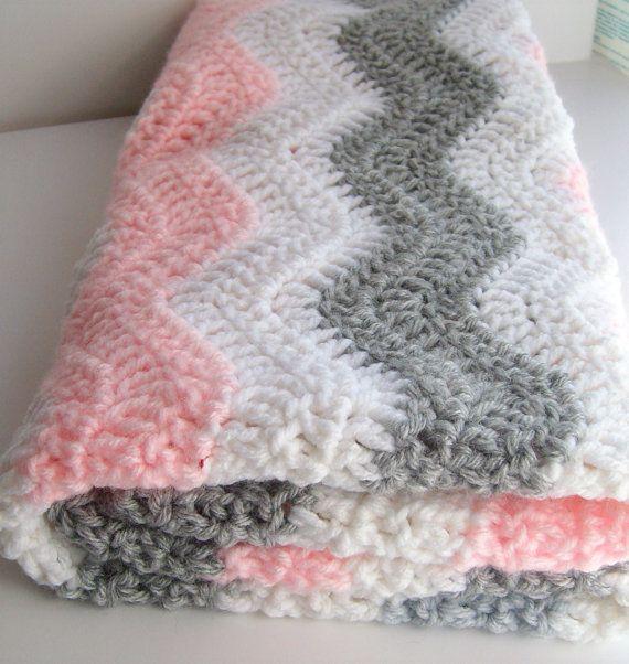 Pink and Gray Chevron Baby Blanket - Crochet Baby Blanket - Chevron ...