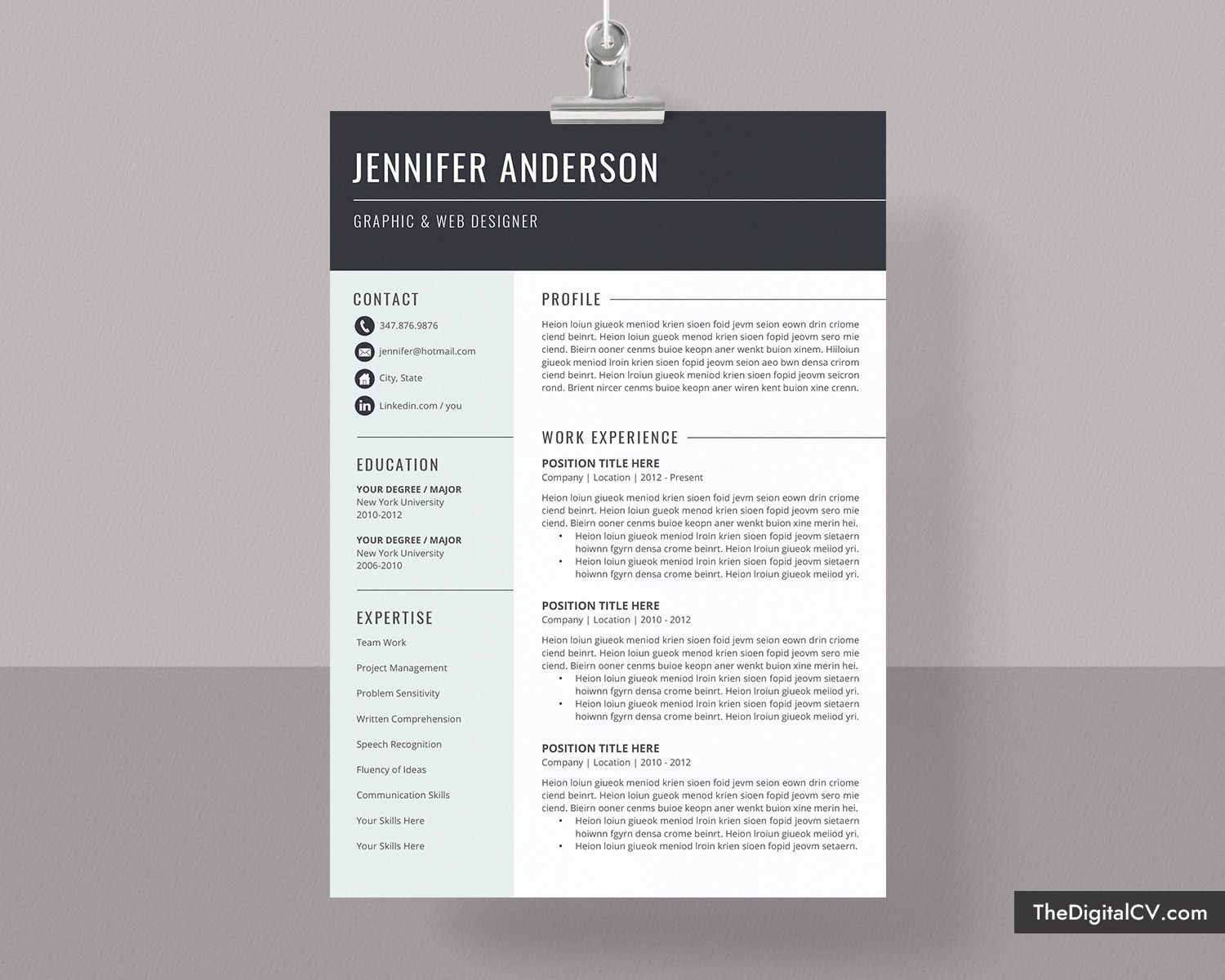 Basic And Simple Resume Template 20192020, Cv Template