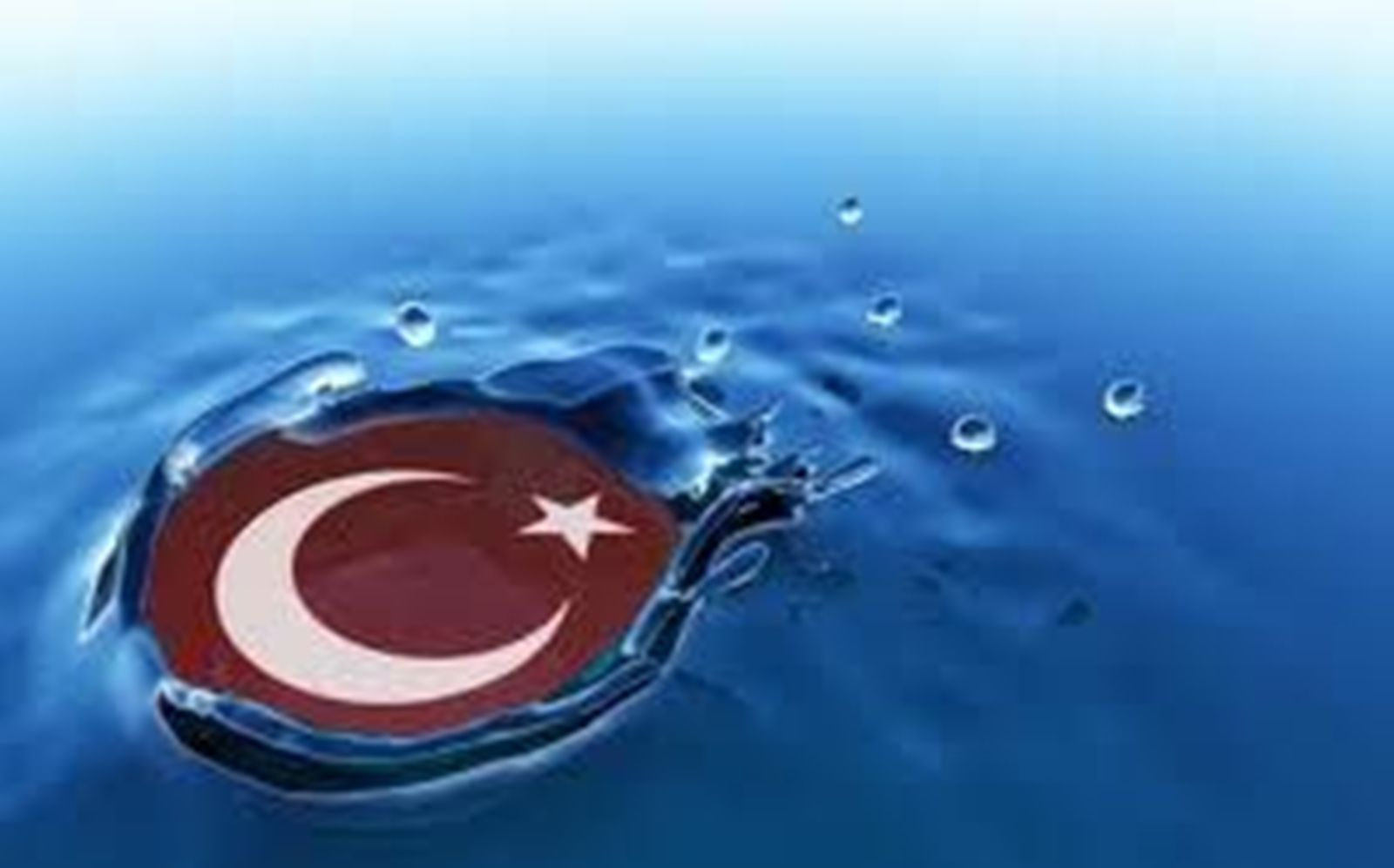 Turkish flag symbol in water