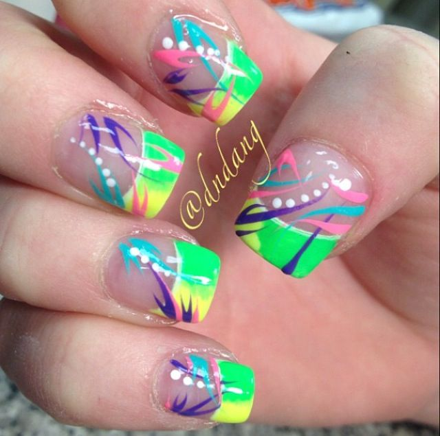 Cute colorful acrylic tips ❤ ❤ | Nail Designs | Pinterest ...