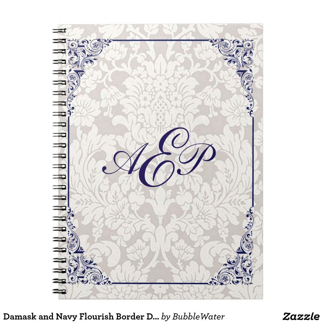Damask And Navy Flourish Border Design Notebook Flourish Border Border Design Damask