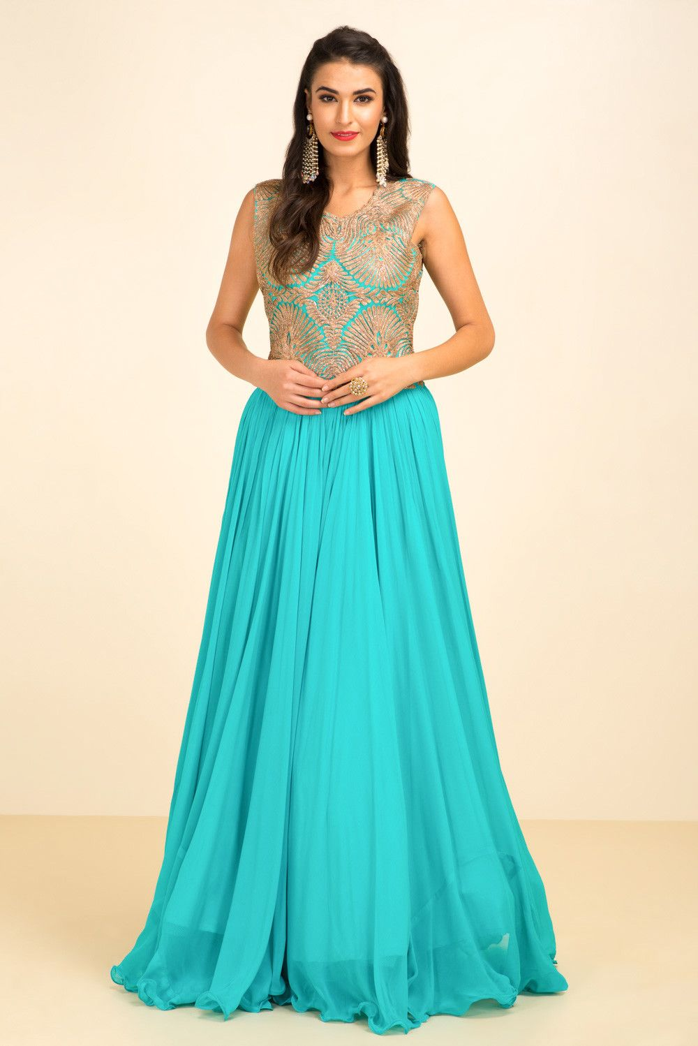 Rent THE STYLE LOFT BY RITU DEORA - Aqua Blue Embroidred Gown ...
