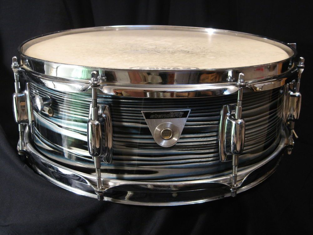 """VINTAGE 1960s-70s LUDWIG STANDARD 5x14"""" BLUE STRATA JAZZ FESTIVAL SNARE DRUM #Ludwig"""