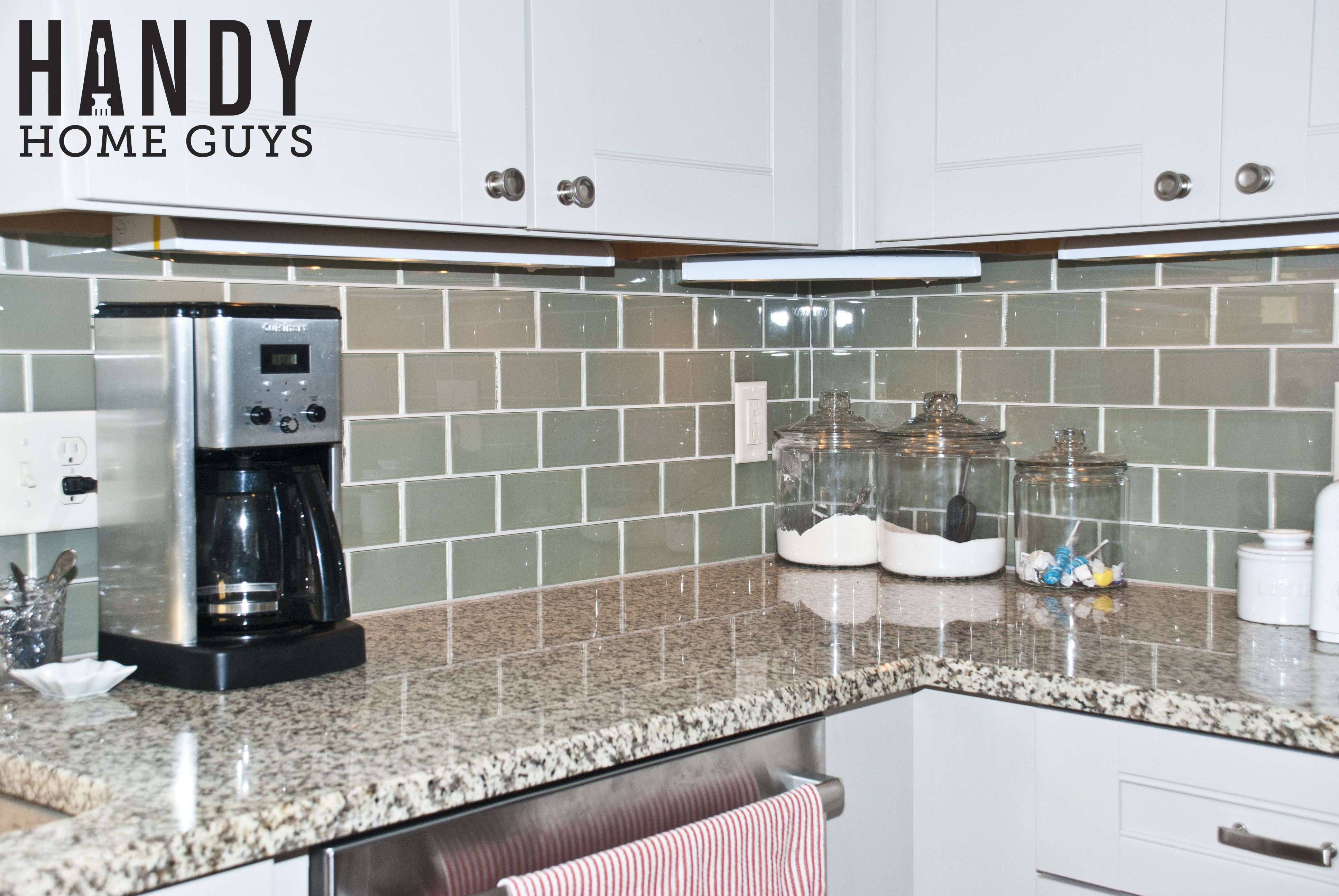 glass backsplash remodel and picture by handy home guys of