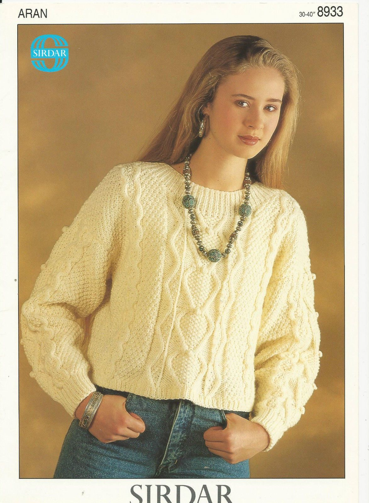 14cd59aa2 Aran Knitting Pattern Womans Short Sweater Top Cable Bobble Stitch ...