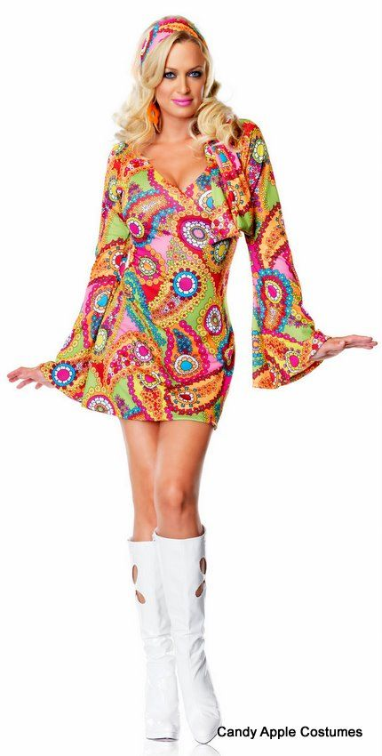 73d20a7f0a Adult Hippie Chick Go Go Dress - 60's and 70's Costumes - Candy Apple  Costumes