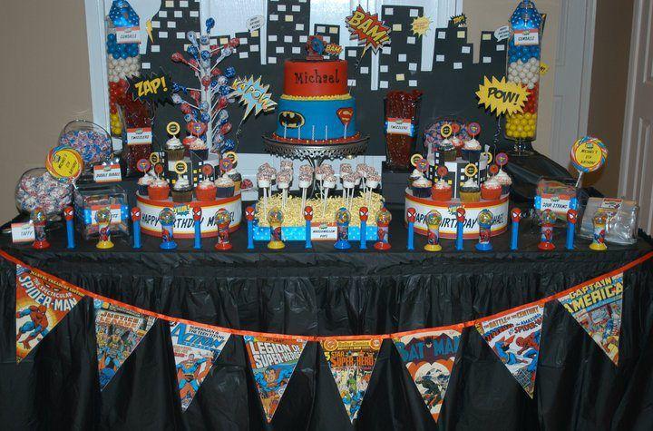 Superhero Dessert And Candy Table Superhero Party