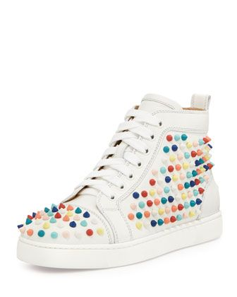 fa62d0821a3 Christian Louboutin Louis Spikes Calfskin High-Top Sneaker | shoes ...