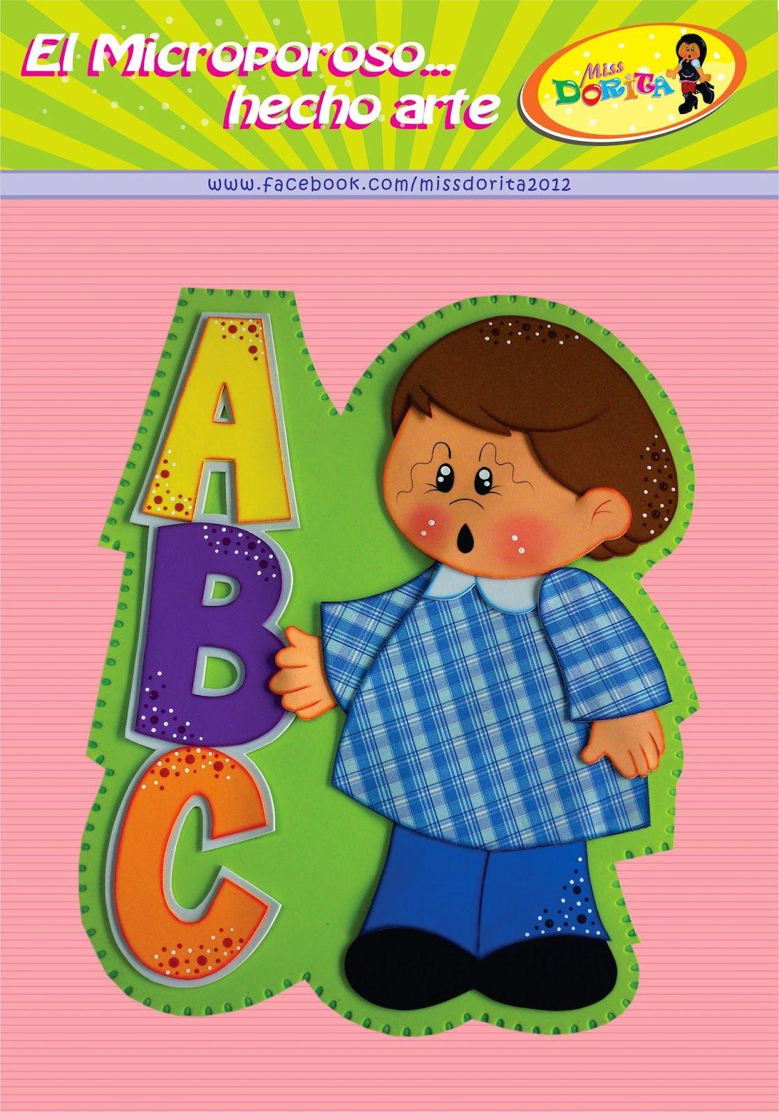 Miss Dorita: Moldes Niño con ABC | aulas | Pinterest