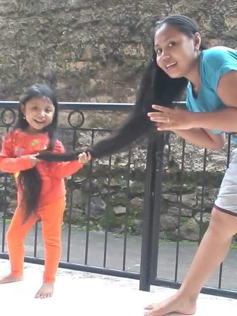 pool very long hair